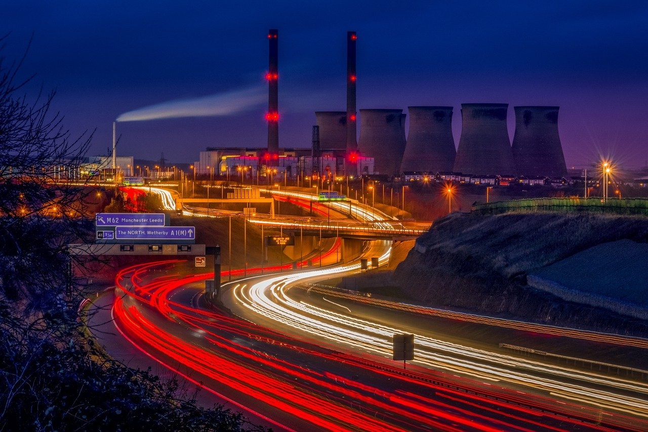 ferrybridge, power station, light trails